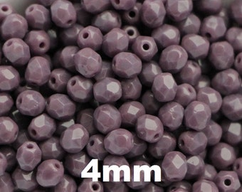 4mm Dark Purple Lavender Czech Fire Polished Beads (50pcs) Round Tinny Faceted Round