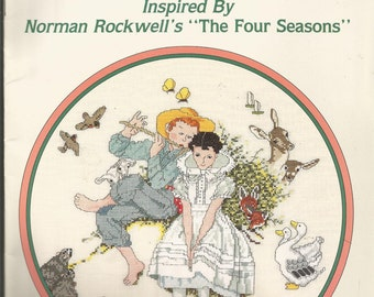 Four Ages of Love series in counted cross stitch inspired by Norman Rockwell's The Four Seasons.  1988 Designs by Gloria and Pat