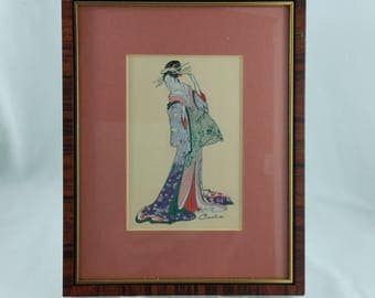 "Framed 1980's Vintage Miniature Woven Silk Picture by Cash ""Kyomine"" Gift for Her Collectible Art"