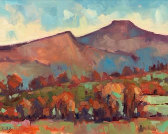 Autumnal Pen-y-Fan and Cribyn . 7'' x 5'' Art Greetings Card. Quality printed card, blank inside.