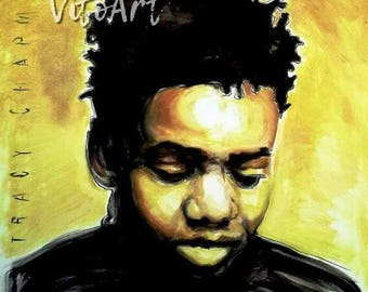 Tracy Chapman Art Print Fast Car Album Cover Ink Gold Paint Folk Acoustic Portrait Illustration Wall Decor Limited Edition Poster Print