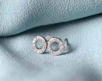 Circle silver sterling earrings