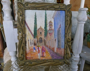 Original painting of Mexican street scene (vertical)