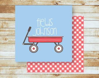 Personalized Calling Cards / Gift Tags / Kids / Red Wagon