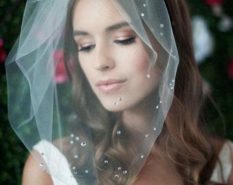 MARIE LARGE w/ Rhinestones Cluster Bottom - birdcage veil, bird cage veil, blusher veil, tulle bridal birdcage veil, tulle veil, blusher