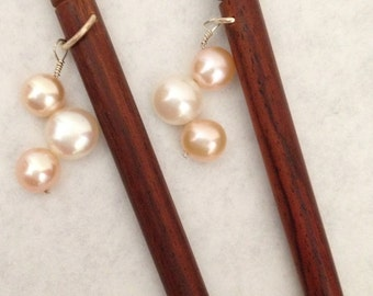 8 inch rosewood ss hair sticks with 3 sterling silver wire wrap peaches and cream button pearls on each hair stick