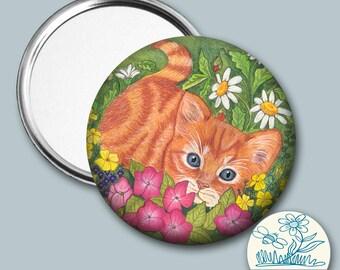 Ginger kitten illustrated - Pocket Mirror