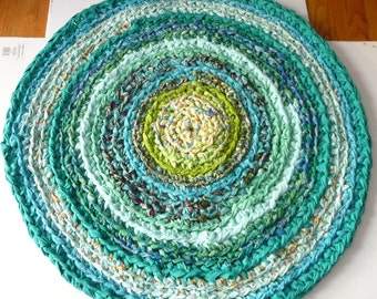 "Crochet Rag Rug 36"" Round Cotton  Rug  Green Turquoise Ready To Ship"