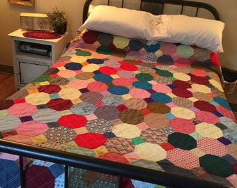 Vintage Full/Twin Polyester Quilt, 1960s, Multi-Color, Light Green Cotton-Poly Backing, Polyester Blanket, Twin/Full Size, Pink, Blue, Red