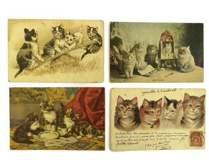 Antique French Kitten Postcards. Set of 4 Cat Art Cards. Cat Postcard Collectible.