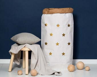 Paper bag XXL small star gold - powder cloud