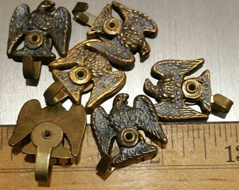 Vintage brass eagle motif picture hangers