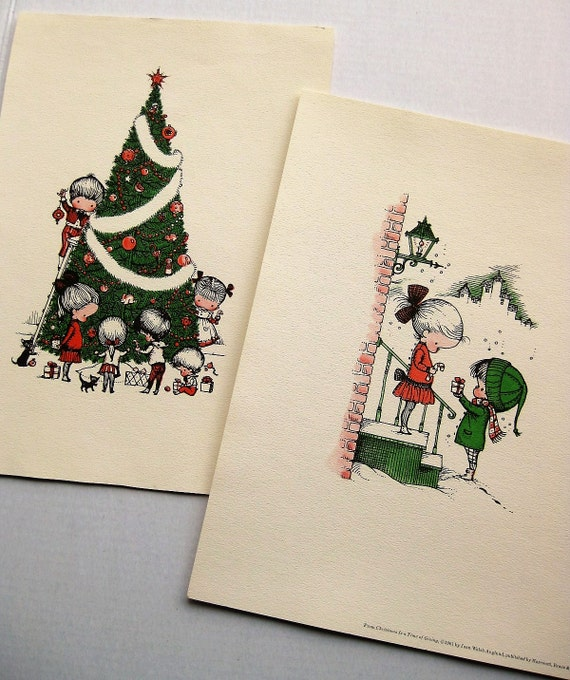 Large vintage Joan Walsh Anglund  Christmas prints. 1960s. Lithograph. Christmas baby. Nursery decor. Kid decor. Hostess gift. (One trimmed)
