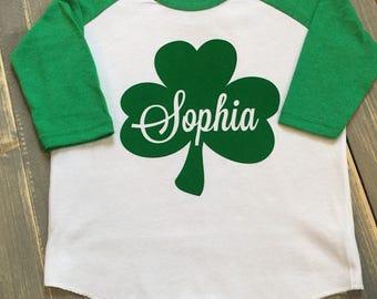 Shamrock Toddler Shirt - Toddler St. Patrick's Day Shirt -  Personalized Toddler St. Patrick's Day Shirt - Toddler Baseball Tee - Toddler T