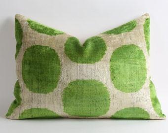 Velvet Ikat Pillow Cover, Green Polka Dots Handmade ikat silk velvet Pillow Cover 16x22 Green Velvet Pillow Green White Pillow Accent Pillow