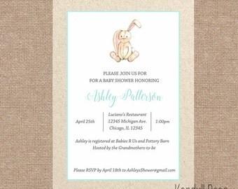 Classic Baby Bunny Baby Shower Invitation   Pastel Baby First Birthday Invitation DIY Printable Invite Digital File