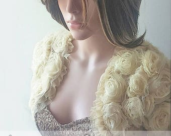 Champagne color/off white/ bridal/wedding/ 3 D rouse/ ruffles shrug  jacket/  wedding bolero