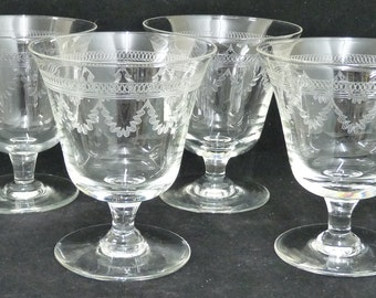 Antique Wine Glasses x 4, Swag and Elliptical Circle Patterns, Clear, Etched Glass, Engraved, Barware, English Wine Glass, Antique Glasses