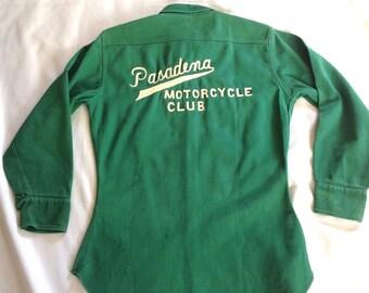 1950's Pasadena Motorcycle Club Heavyweight Gabardine Shirt Sz. M