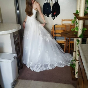 champange tea lenghth ball gown vintage lace wedding dress