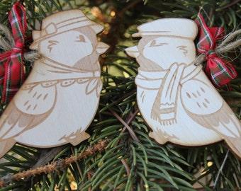 Wood Christmas/Holiday Ornament - Chickadee Couple Set of 2