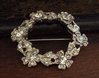 Vintage Clear Crystal Brooch - 1950s - Crystal Rhinestone - Vintage Brooches