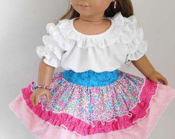 Pink n Blue Ruffled Party Skirt for 14-18 inch Girl Dolls, American Made western square dance cowgirl outfit, frilly circle, Mexican Fiesta