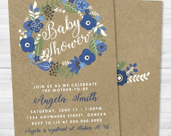 Rustic Blue Floral Baby Shower Invitation - Blue, Baby Boy, Flowers