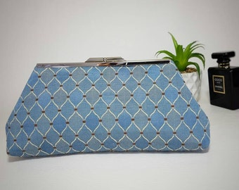 Light blue clutch bag, wedding clutch, evening clutch, blue purse, blue clutch, evening purse, wedding purse, blue handbag.
