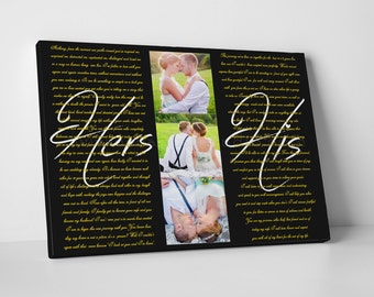 Custom canvas sign, custom photo print, Wedding photos canvas, Wedding photo set and vows, Wedding photo art, Wedding portrait