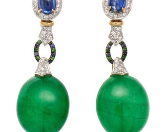 Large Green Quartz Sapphire Diamond Gold Platinum Earrings