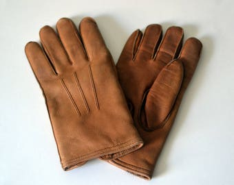 Vintage MEPHISTO Tan Leather Fur Lined Gloves Size 6 S Small