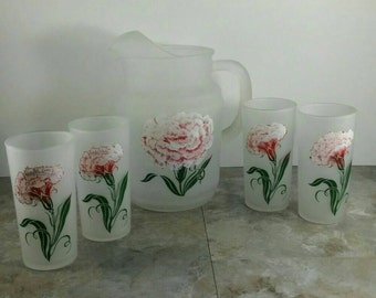 Vintage Hazel Atlas Flower Pitcher with 4 Matching Glasses Set