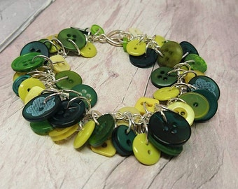 Mixed greens button bracelet, charm style button bracelet, handmade button bracelet