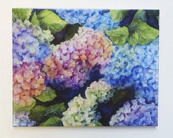 Hydrangea Painting on hangable tile Original Watercolor