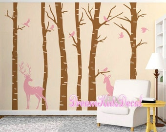 Woodland Wall decal, nature wall decals, vinyl wall decals, wall stickers, Deer, birch tree, nursery wall stickers-Deer in forest-DK203