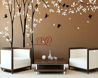 Wall Decals, Wall Stickers, Tree branch with birds wall decal,Tree wall decal for Nursery, Living room, Window wall decor-DK075
