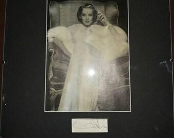 Vintage 1940s Hollywood Glamour Marlene Dietrich Photo and Autograph Framed Shanghai Express Femme Fetale