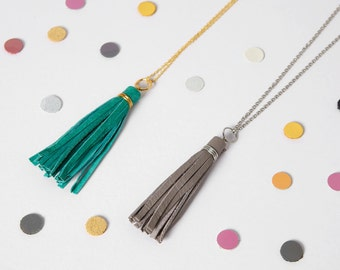 Leather tassel necklaces, Long tassel necklace, Boho jewelry, reclaimed leather, Neon accessory, Gift from daughter, gift for her under 30