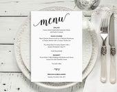 Wedding Menu Template Wedding Menu Printable Menu Card DIY Menu Template PDF Instant Download Dinner Menu Menu Printable MMPB10