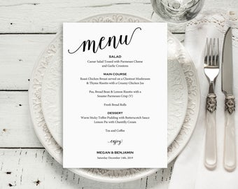 Wedding Menu Template, Wedding Menu Printable, Menu Card, DIY Menu Template, PDF Instant Download, Dinner Menu, Menu Printable, MM01-1