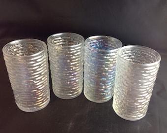 Set of 4 Vintage Anchor Hocking Soreno Aurora Juice Glasses Iridescent Mid Century Retro  Bumby Krinkly Glass Set
