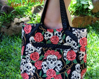 Skulls and Roses tote