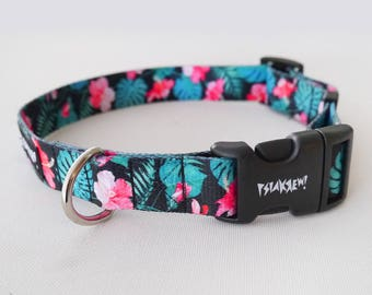 """Dog Collar Tropical Monstera 2.5 cm, 1 """" wide, Dog Collar Psiakrew, Colorful Pet collars for medium and large dogs"""