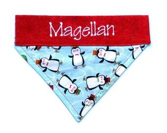 """Personalized Dog Bandana / Holiday Dog Bandana / Christmas Dog Bandana / Over the Collar Dog Bandana / Pet Bandana / Dog Scarf / """"Penguins"""""""