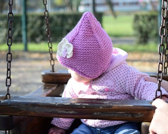Kids wool hat, pink hat, childrens earflap hat, winter hat with orchid flower, kids pixie hat, fairy hat, Ready to ship size 6-12 month