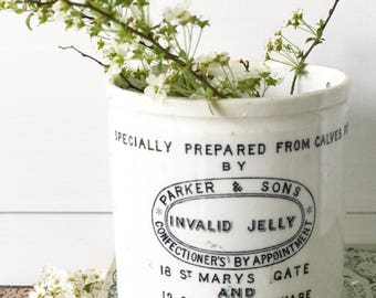 A Rare Parker & Sons Invalid Jelly antique Advertising stoneware crock Manchester