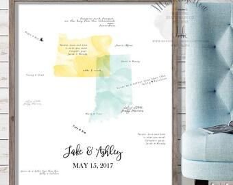 Wedding Guest Book - Wedding Map - Wedding Guest Book Alternative - Wedding Gift - Wood Wedding Signs - Guest Book Map - Guest Book Canvas