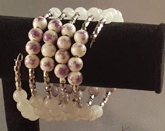 Purple flower and pink memory wire bracelet