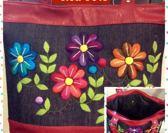 Beautiful Handcrafted Peruvian Bag,Textured Black Multicolor Handwoven and Floral Embroidery,Large Shoulder Lady Bag,My Peruvian Treasures